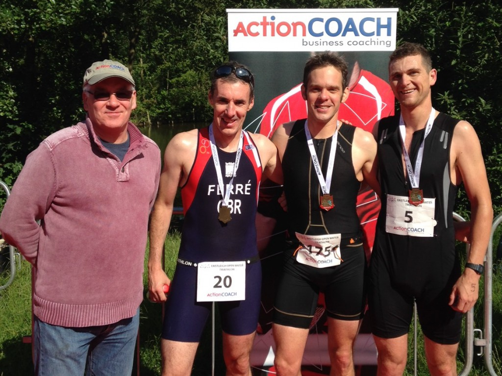 2014 Eastleigh Open Water podium with Richard Ferré, Mark Chamberlain and Colin Harding from race sponsors ActionCOACH Solent