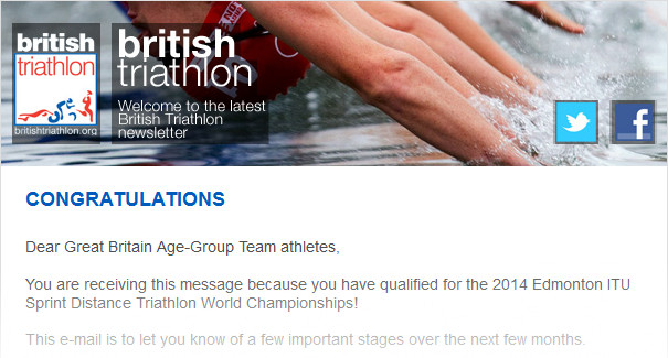 Congratulations - You have qualified for the 2014 Edmonton ITU Sprint Distance Triathlon World Championships
