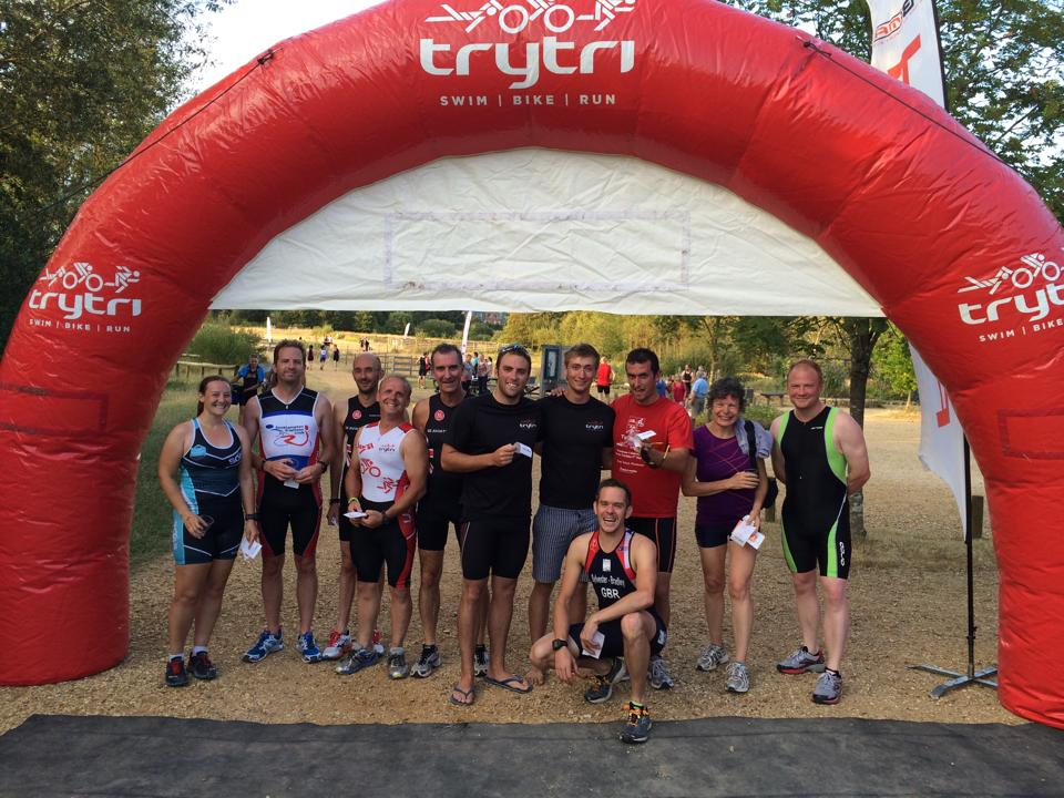 Try Tri finish gantry at Eastleigh Aquathlon