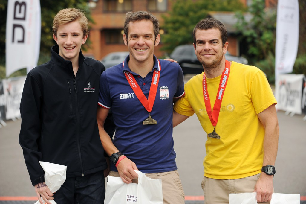 Michael Fabes, Gareth Sylvester-Bradley, Jon Powell @ Reading Triathlon, September 2014 by SussexSportPhotography.com