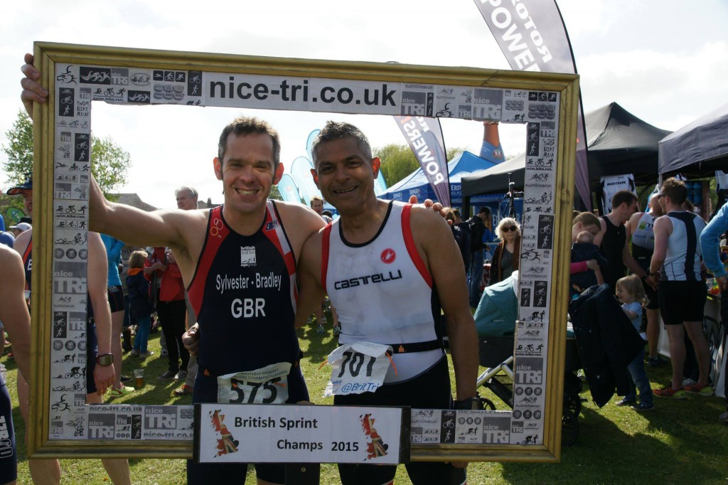 Gareth S-B and Andy Gajraj after St Neots Triathlon